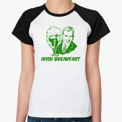 Женская футболка реглан Футболка Реглан женская (бел/чёрн)