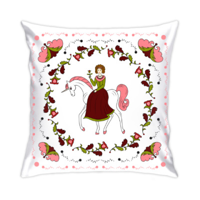 Подушка Russian folk flower ornament. Girl and unicorn