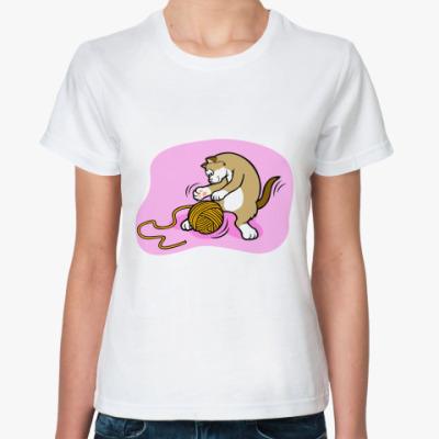 Классическая футболка Кот с клубочком