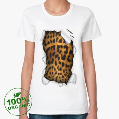 Женская футболка из органик-хлопка Леопард