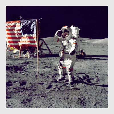Постер Астронавт на Луне с флагом США