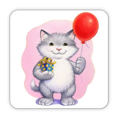 Костер (подставка под кружку) Кот и воздушный шарик