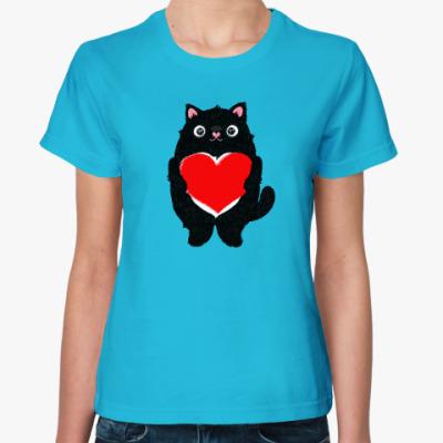 Женская футболка Кот и большое сердце