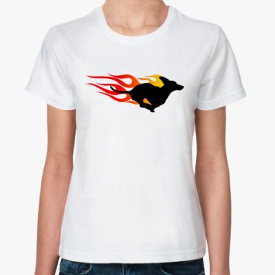 Классическая футболка Dachshund In Flames