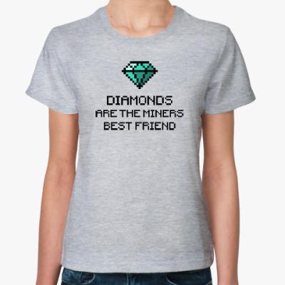 Женская футболка Minecraft - diamonds