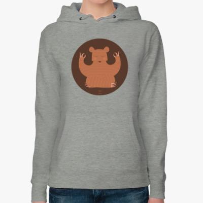 Женская толстовка худи Animal Zen: B is for Bear