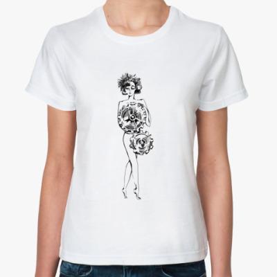 Классическая футболка девочка с шестерёнками