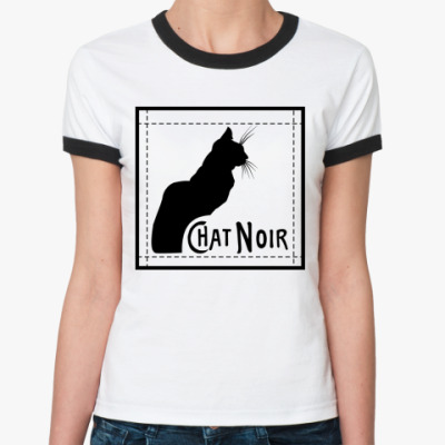 Женская футболка Ringer-T черный кот