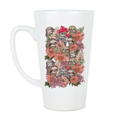 Чашка Латте Ленивцы в цветах