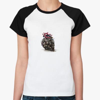 Женская футболка реглан мотор
