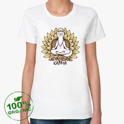 Женская футболка из органик-хлопка 'Хорошая карма!'