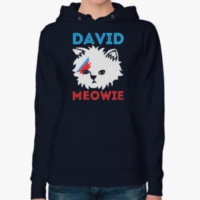 Женская толстовка худи David Bowie cat