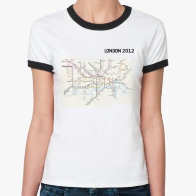 Женская футболка Ringer-T  'LONDON 2012'