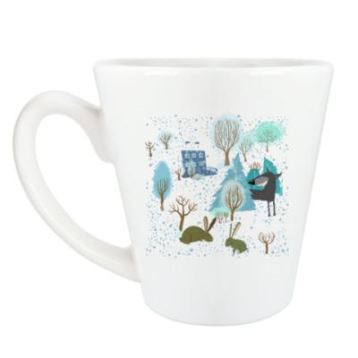 Чашка Латте 'Волк зимой...'