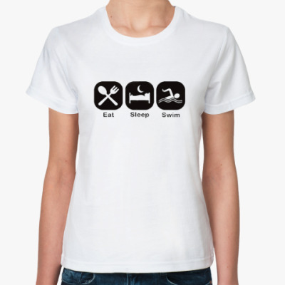 Классическая футболка Распорядок дня пловца.