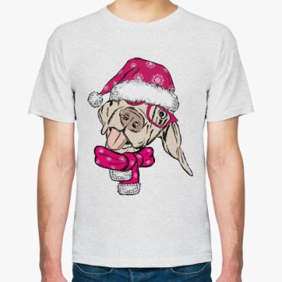 Футболка Собака Санта показывает язык.