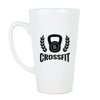 Чашка Латте Кроссфит логотип с гирей