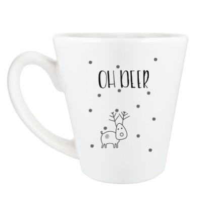 Чашка Латте Снежный олень Oh deer