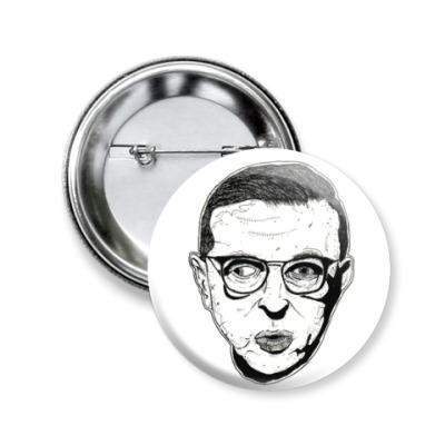 Значок 50мм Жан-Поль Сартр