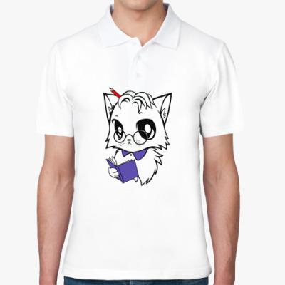 Рубашка поло Белый кот ботаник