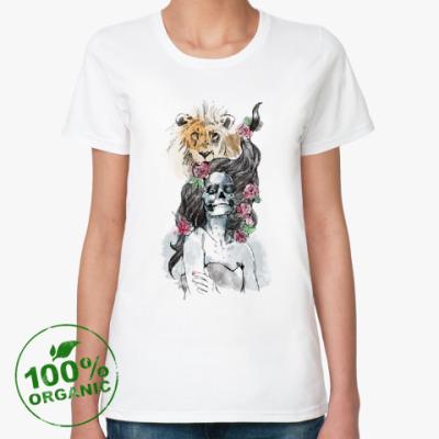 Женская футболка из органик-хлопка Девушка-Лев-Череп
