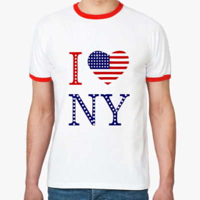 Футболка Ringer-T I Love NY -американский флаг