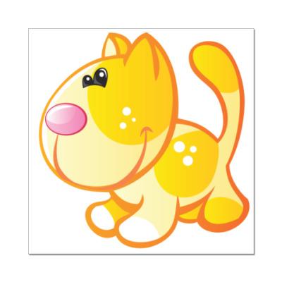 Наклейка (стикер) Рыжий кот приносит счастье