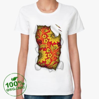 Женская футболка из органик-хлопка  'Золотой орнамент'