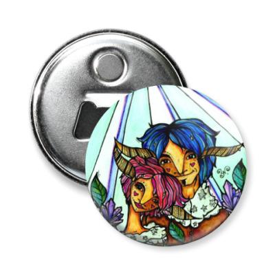 Магнит-открывашка Пара с розово-голубыми волосам