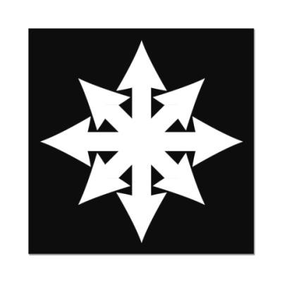 Наклейка (стикер) Хаос ч/б плоский на чёрном