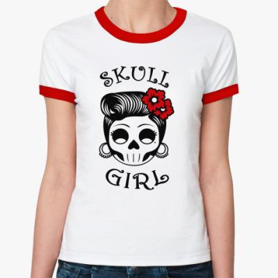 Женская футболка Ringer-T Skull_girl