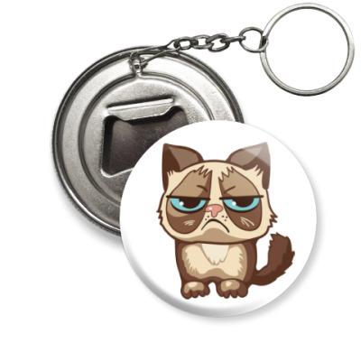 Брелок-открывашка Угрюмый кот Тард - Grumpy Cat