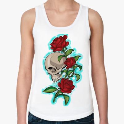 Женская майка череп и розы
