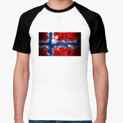 Футболка реглан  'Норвежский флаг'