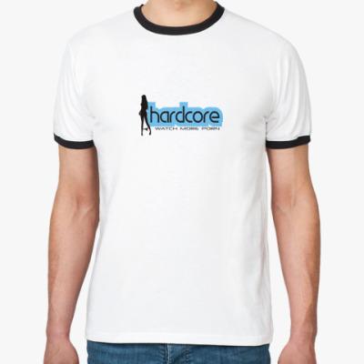 Футболка Ringer-T  (бел/чёрн) HARDCORE