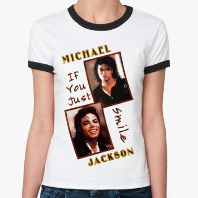 Женская футболка Ringer-T Michael Jackson