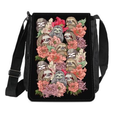 Сумка-планшет Ленивцы в цветах