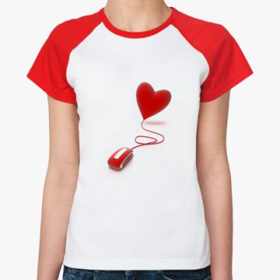 Женская футболка реглан Мышка и сердце