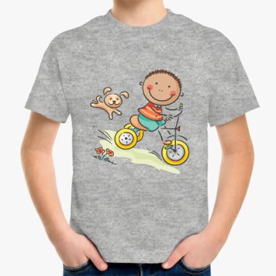 Детская футболка Мальчик на велосипеде