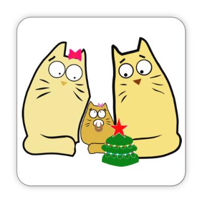 Костер (подставка под кружку) Кошачья семья
