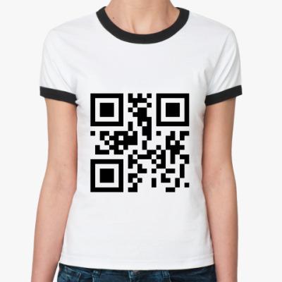 Женская футболка Ringer-T QR [Привет]