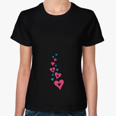 Женская футболка Летящие сердца
