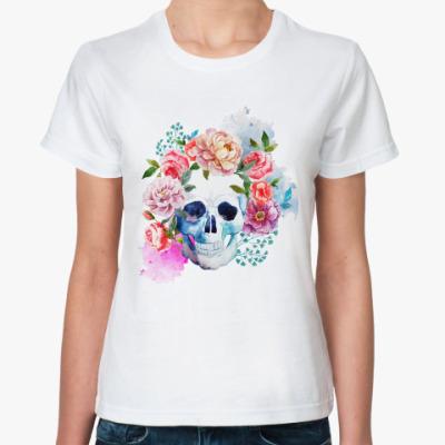 Классическая футболка Watercolor skull