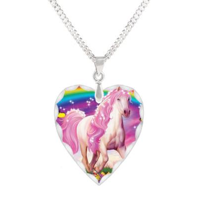 Кулон 'сердце' Розовая лошадка