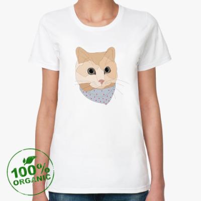 Женская футболка из органик-хлопка Песочный кот