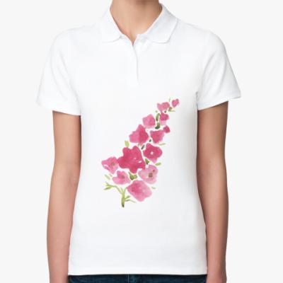 Женская рубашка поло Цветы