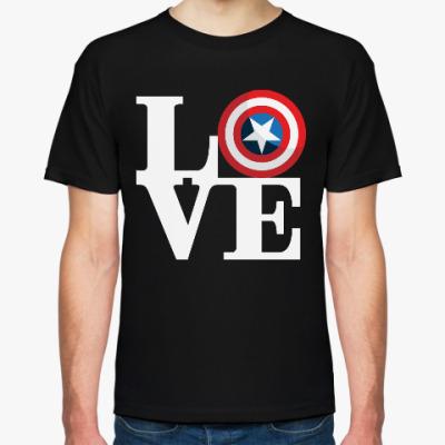 Футболка Люблю (Капитан Америка)