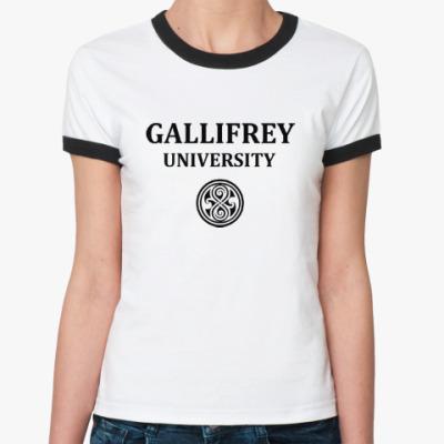 Женская футболка Ringer-T Gallifrey University