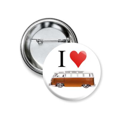 Значок 37мм I Love Bus