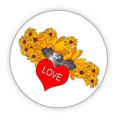 Костер (подставка под кружку) 'Птица с валентинкой'